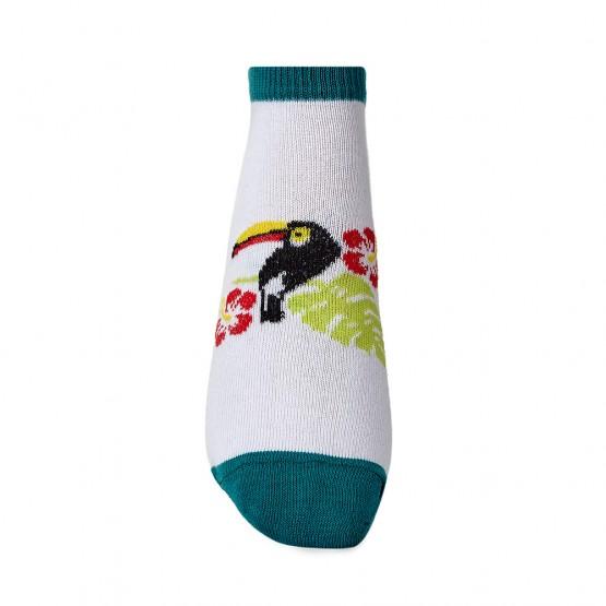 Яскраві жіночі шкарпетки сліди із принтом тукани фото 3