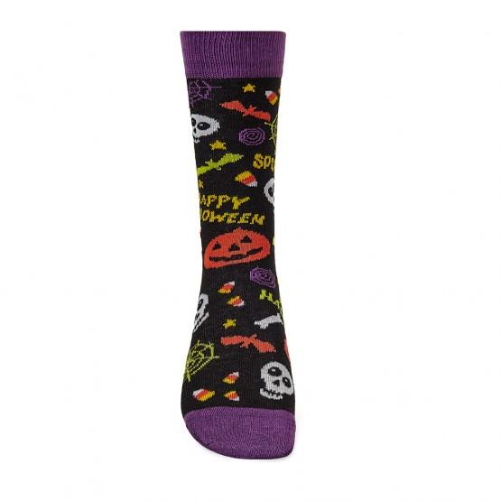 Чоловічі шкарпетки з гарбузами та написом Halloween фото 2