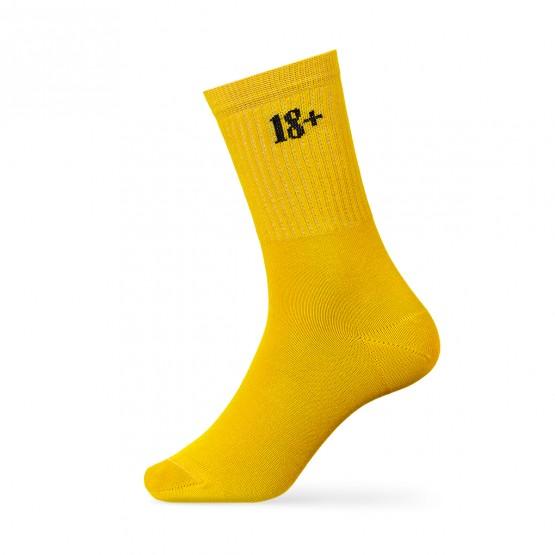 Чоловічі шкарпетки, жовтого кольору, з написом 18+ фото 1