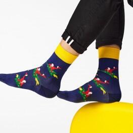 Гладкі чоловічі шкарпетки Дід на ялинці-3357