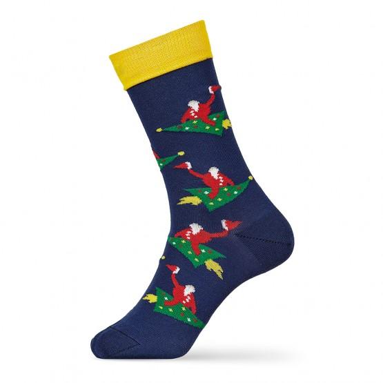 Гладкі чоловічі шкарпетки Дід на ялинці фото 2