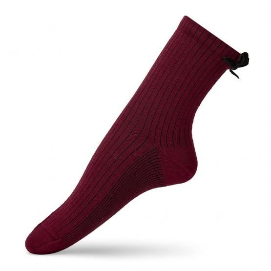 Жіночі шкарпетки в'язки рубчик із бантиками фото 2