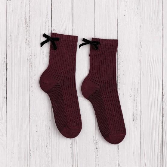 Жіночі шкарпетки в'язки рубчик із бантиками фото 1