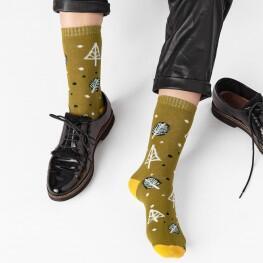 Жіночі гладкі шкарпетки з патерном «ліс»-2274