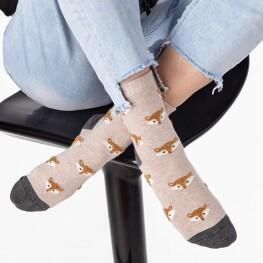 Жіночі шкарпетки з об'ємним малюнком Лисички-3329