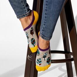 Комплект з 2-х пар жіночих шкарпеток подследок «Сова + пір'я»-3506