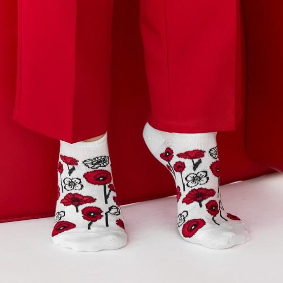 Комплект з 2-х пар жіночих шкарпеток «Білі квіти+маки» фото 3