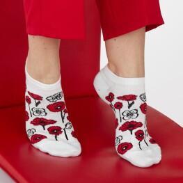 Комплект з 2-х пар жіночих шкарпеток «Білі квіти+маки»-3536