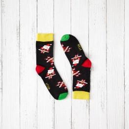 Гладкі дитячі шкарпетки з дідами морозами-3317