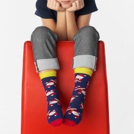 Гладкі дитячі шкарпетки з дідами морозами-3400