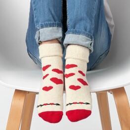 Теплі дитячі шкарпетки з сердечками та відворотом-3326