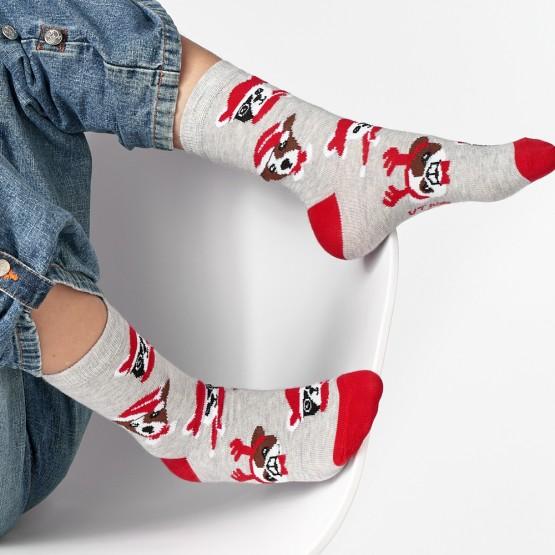 Шкарпетки дитячі з малюнками мордочок собак у новорічних шапках фото 1