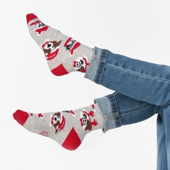 Шкарпетки дитячі з малюнками мордочок собак у новорічних шапках фото 2