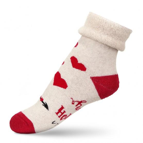 Теплі дитячі шкарпетки з сердечками та відворотом фото 3