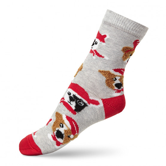 Шкарпетки дитячі з малюнками мордочок собак у новорічних шапках фото 3