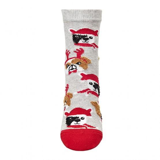 Шкарпетки дитячі з малюнками мордочок собак у новорічних шапках фото 4