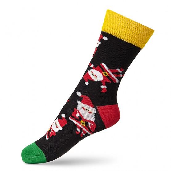 Гладкі дитячі шкарпетки з дідами морозами фото 2