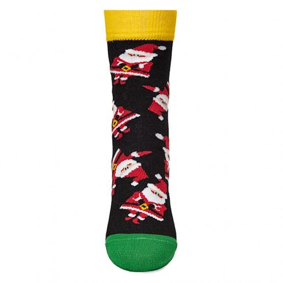 Гладкі дитячі шкарпетки з дідами морозами фото 3