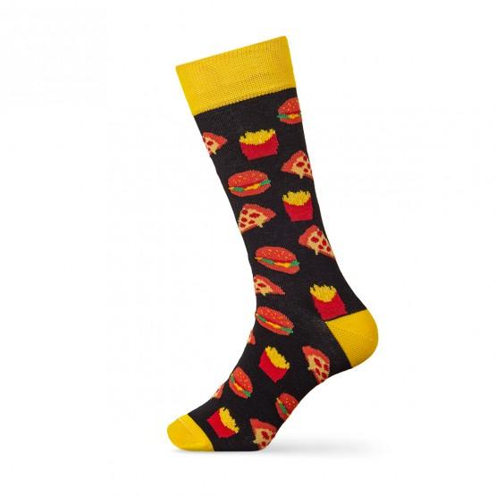 Чоловічі шкарпетки, чорного кольору з малюнками фаст-фуду. фото 2
