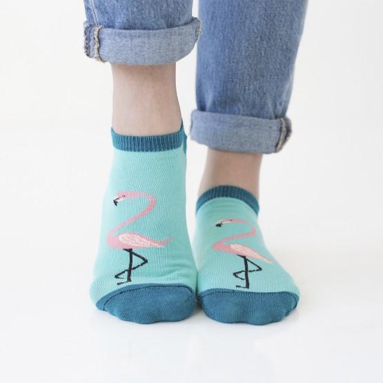 Бірюзові жіночі шкарпетки сліди із рожевим фламінго фото 1
