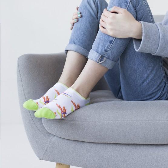 Жіночі шкарпетки сліди із соковитою квіткою Стреліцією фото 1