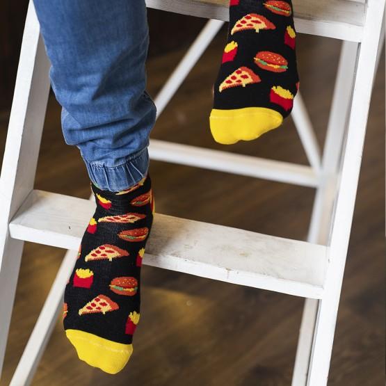 Чоловічі шкарпетки, чорного кольору з малюнками фаст-фуду. фото 1