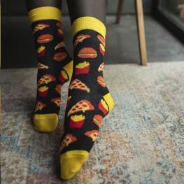 Жіночі шкарпетки, чорного кольору з малюнками фаст-фуду.-2542