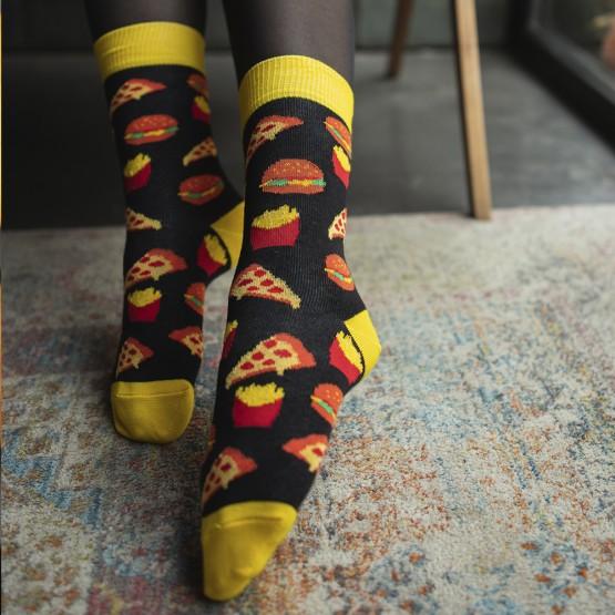Жіночі шкарпетки, чорного кольору з малюнками фаст-фуду. фото 1