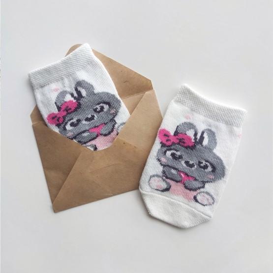 Дитячі шкарпетки для найменших з малюнком зайки фото 1