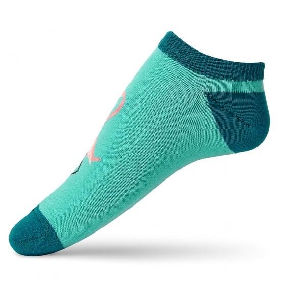 Бірюзові жіночі шкарпетки сліди із рожевим фламінго фото 2
