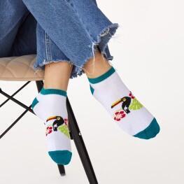 Яскраві жіночі шкарпетки сліди із принтом тукани-1835