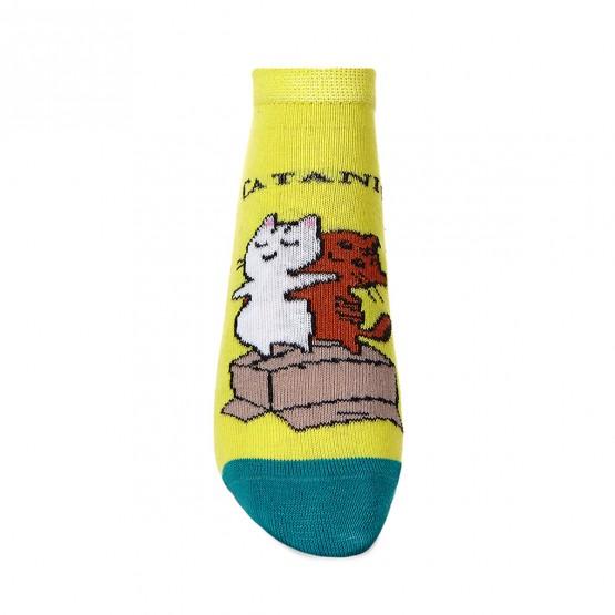 Жіночі шкарпетки яскраво лимонного кольору з малюнками котів фото 2